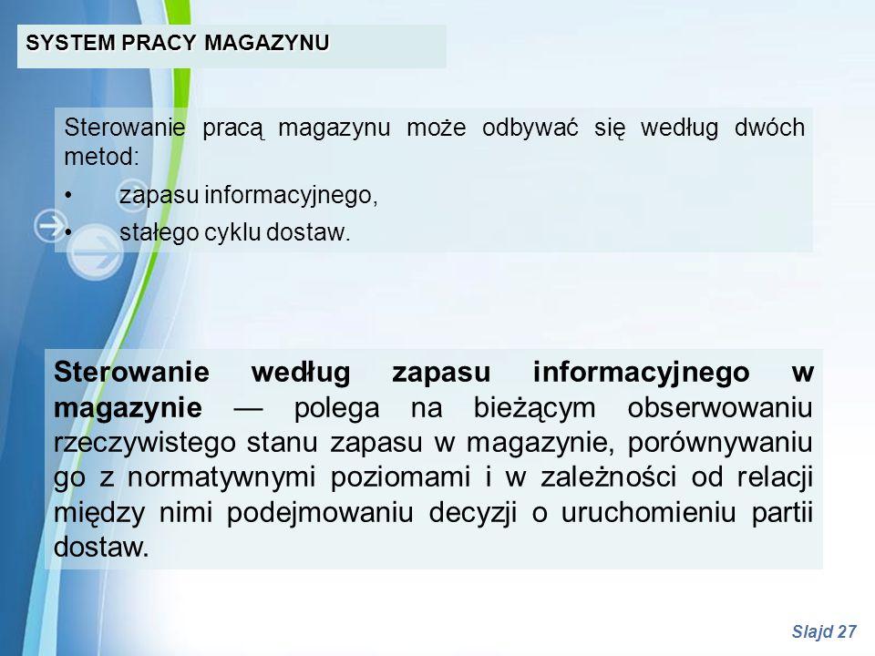 SYSTEM PRACY MAGAZYNU Sterowanie pracą magazynu może odbywać się według dwóch metod: • zapasu informacyjnego,