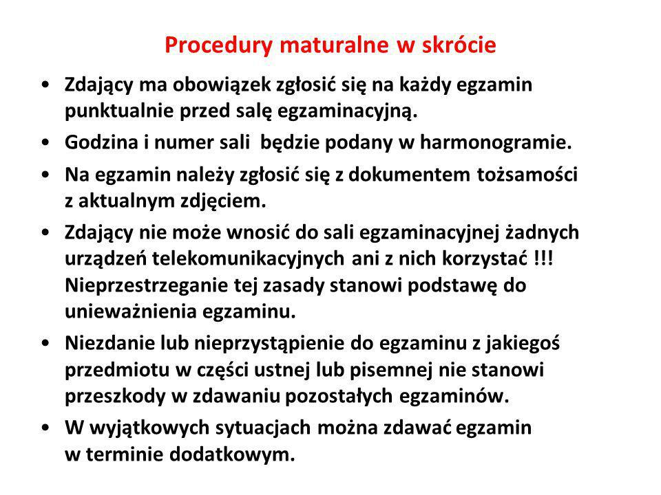 Procedury maturalne w skrócie