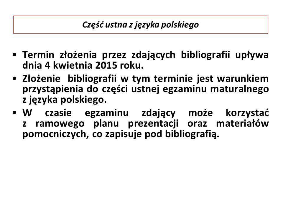 Część ustna z języka polskiego