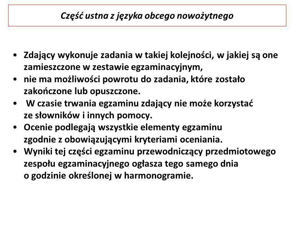 Część ustna z języka obcego nowożytnego