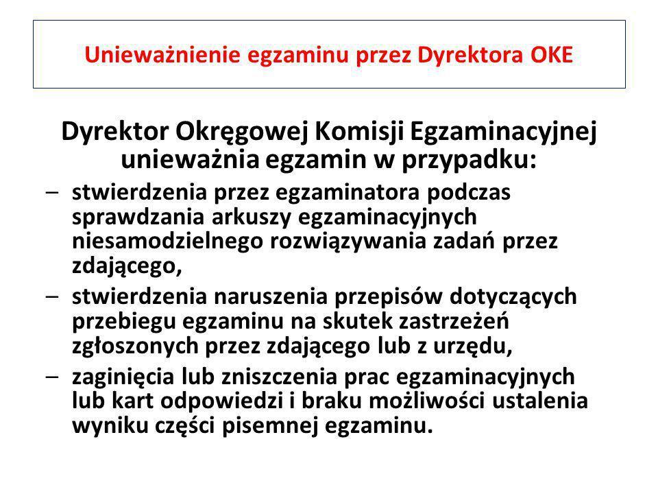 Unieważnienie egzaminu przez Dyrektora OKE