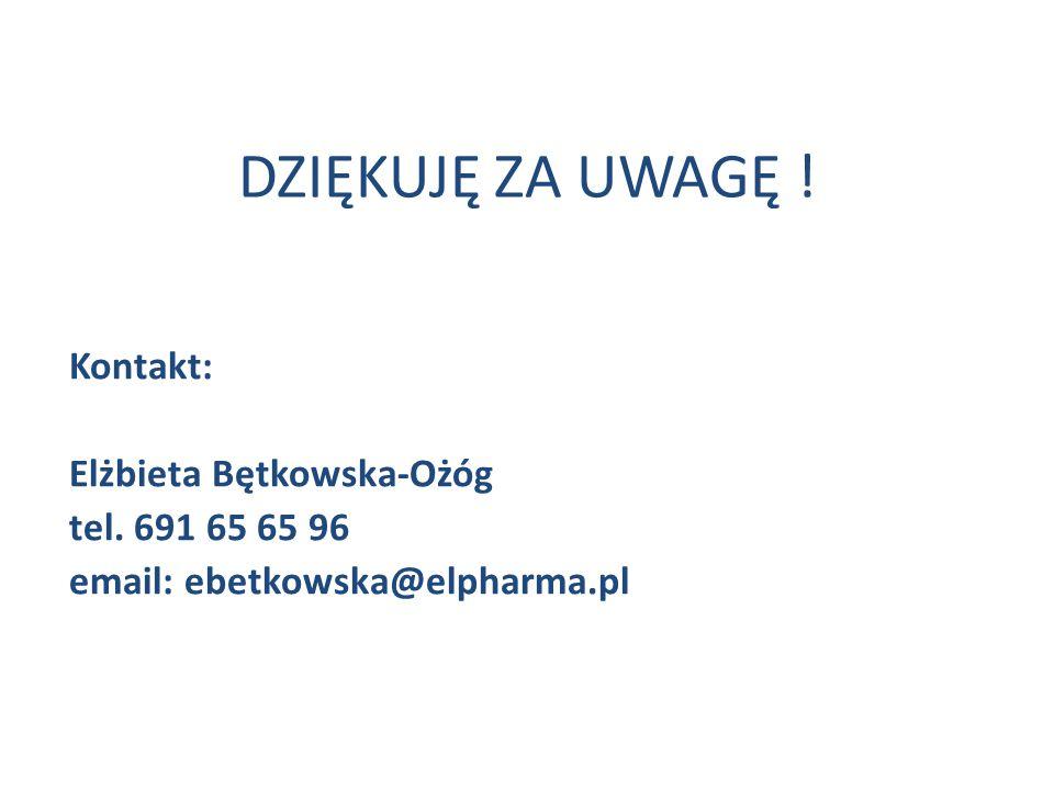 DZIĘKUJĘ ZA UWAGĘ ! Kontakt: Elżbieta Bętkowska-Ożóg tel. 691 65 65 96