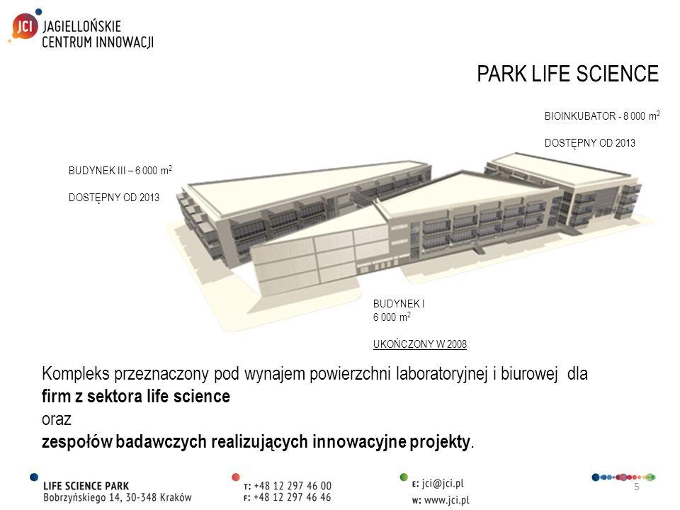 PARK LIFE SCIENCE BIOINKUBATOR - 8 000 m2. DOSTĘPNY OD 2013. BUDYNEK III – 6 000 m2. DOSTĘPNY OD 2013.