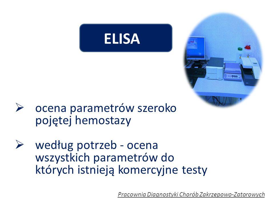ELISA ocena parametrów szeroko pojętej hemostazy
