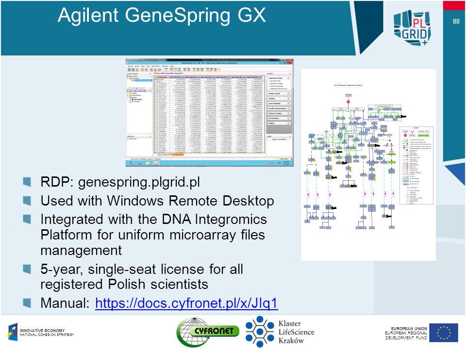 Agilent GeneSpring GX RDP: genespring.plgrid.pl