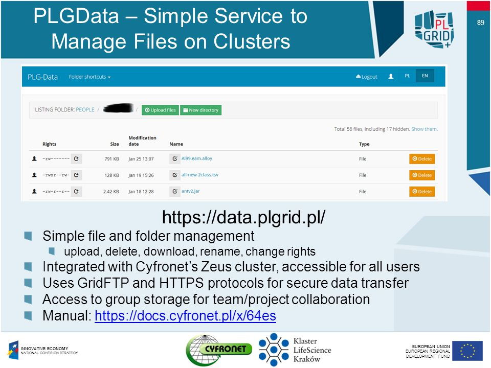 PLGData – Simple Service to Manage Files on Clusters
