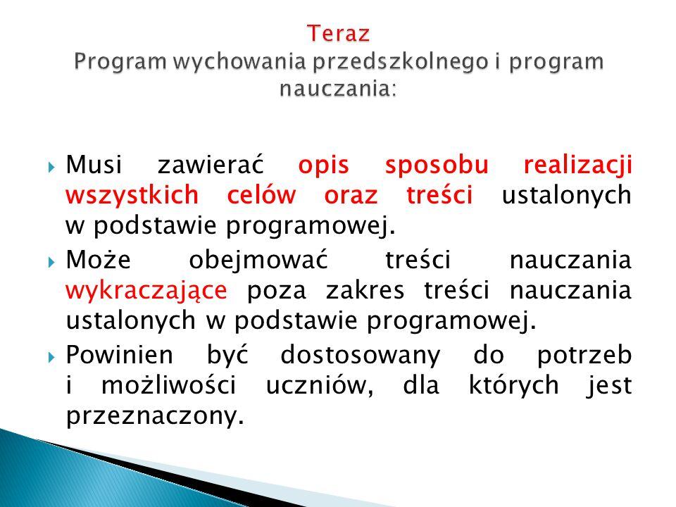 Teraz Program wychowania przedszkolnego i program nauczania: