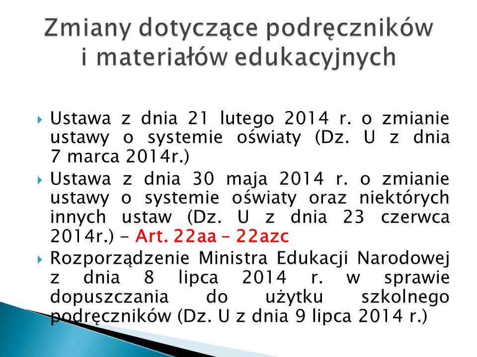 Zmiany dotyczące podręczników i materiałów edukacyjnych