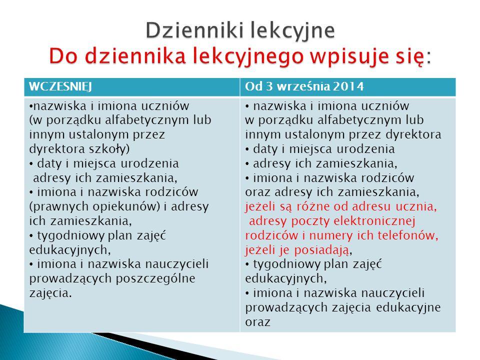 Dzienniki lekcyjne Do dziennika lekcyjnego wpisuje się: