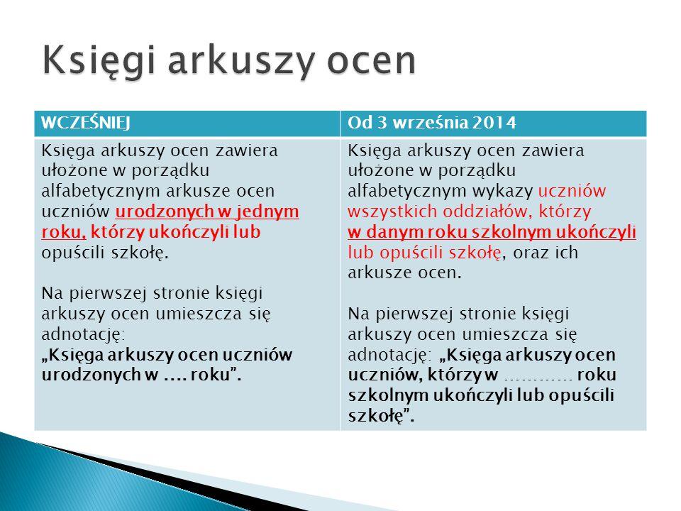 Księgi arkuszy ocen WCZEŚNIEJ Od 3 września 2014