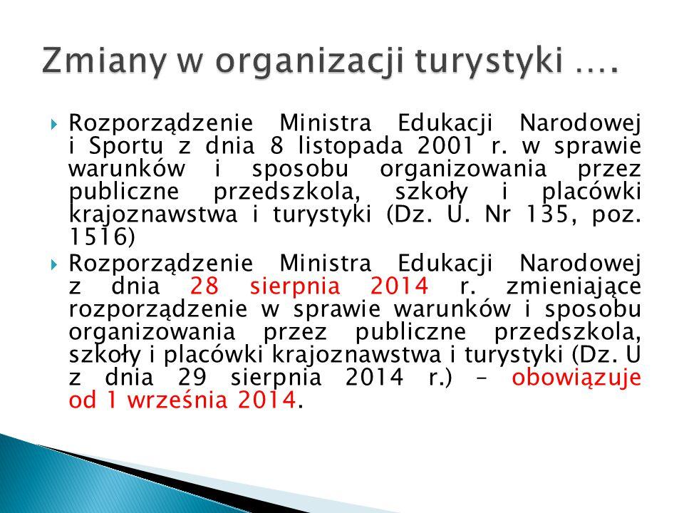 Zmiany w organizacji turystyki ….