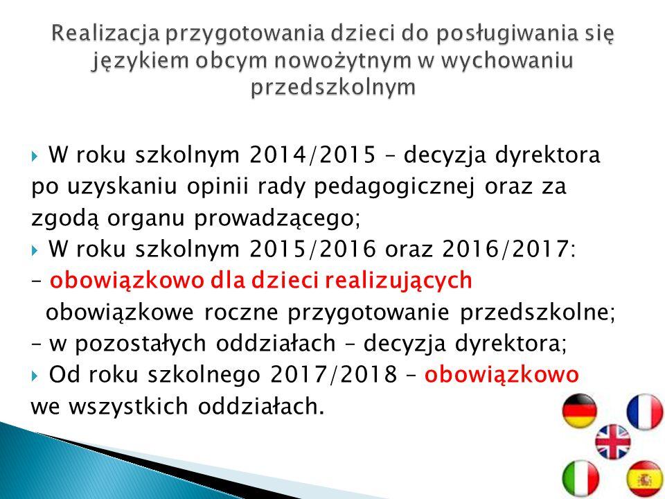W roku szkolnym 2014/2015 – decyzja dyrektora