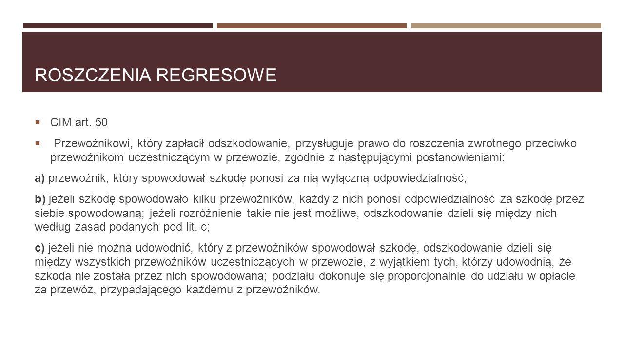 Roszczenia Regresowe CIM art. 50