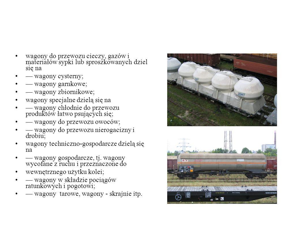 wagony do przewozu cieczy, gazów i materiałów sypki lub sproszkowanych dziel się na