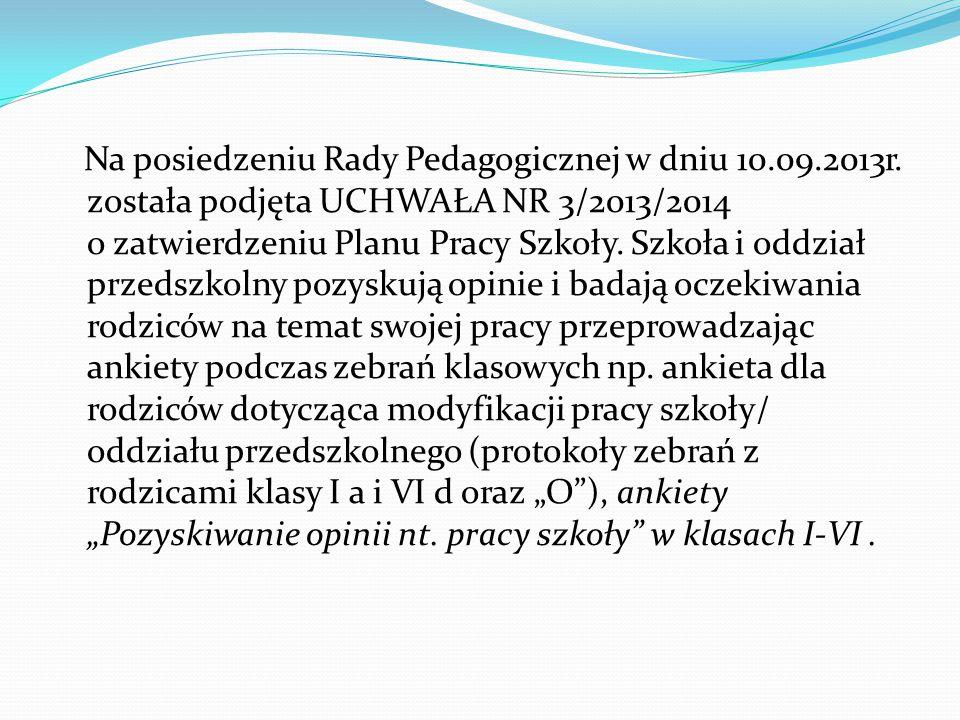 Na posiedzeniu Rady Pedagogicznej w dniu 10. 09. 2013r
