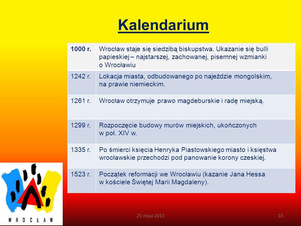 Kalendarium 1000 r. Wrocław staje się siedzibą biskupstwa. Ukazanie się bulli papieskiej – najstarszej, zachowanej, pisemnej wzmianki o Wrocławiu.