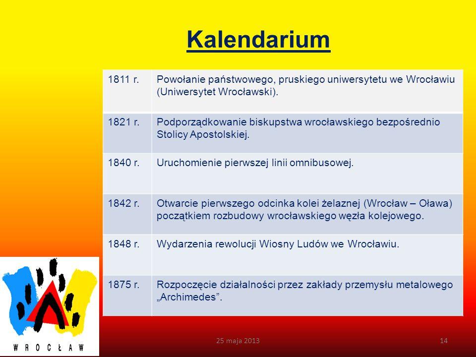 Kalendarium 1811 r. Powołanie państwowego, pruskiego uniwersytetu we Wrocławiu (Uniwersytet Wrocławski).