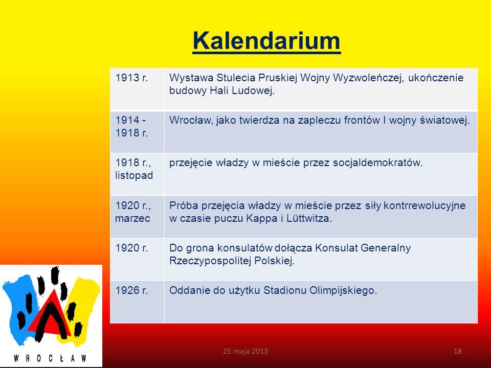 Kalendarium 1913 r. Wystawa Stulecia Pruskiej Wojny Wyzwoleńczej, ukończenie budowy Hali Ludowej. 1914 - 1918 r.