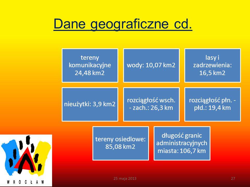 Dane geograficzne cd. 25 maja 2013 tereny komunikacyjne 24,48 km2
