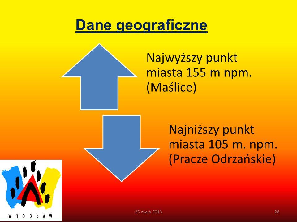 Dane geograficzne 25 maja 2013