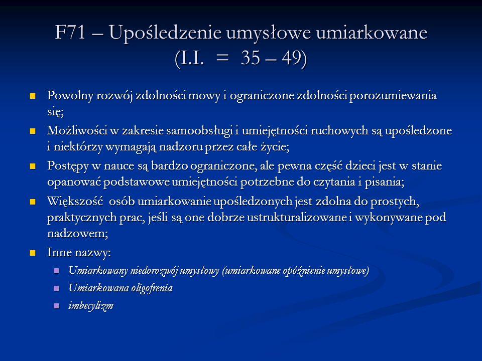 F71 – Upośledzenie umysłowe umiarkowane (I.I. = 35 – 49)