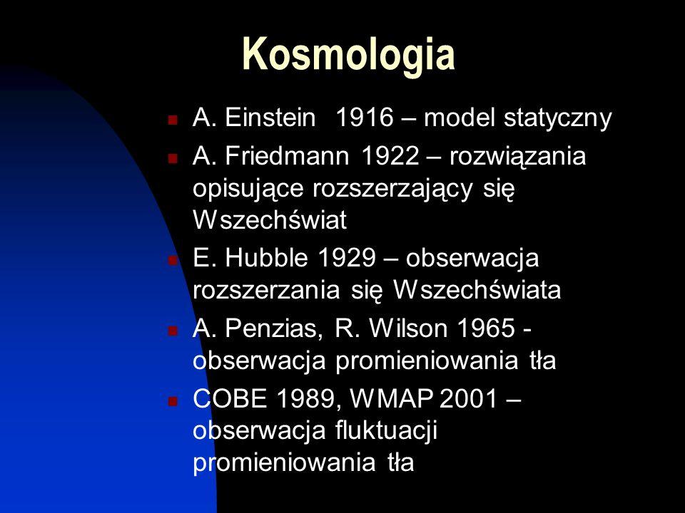 Kosmologia A. Einstein 1916 – model statyczny