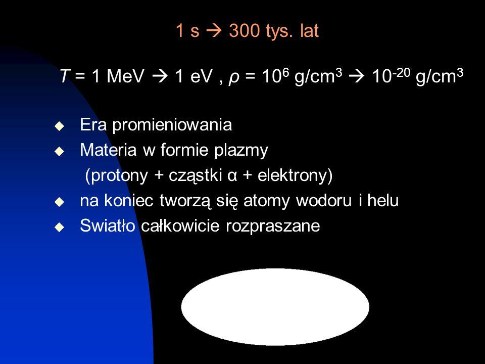 1 s  300 tys. lat T = 1 MeV  1 eV , ρ = 106 g/cm3  10-20 g/cm3
