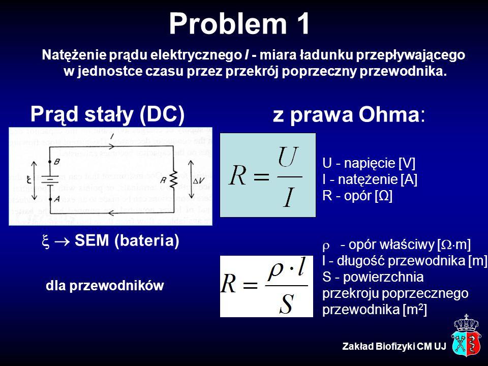 Problem 1 Prąd stały (DC) z prawa Ohma:   SEM (bateria)