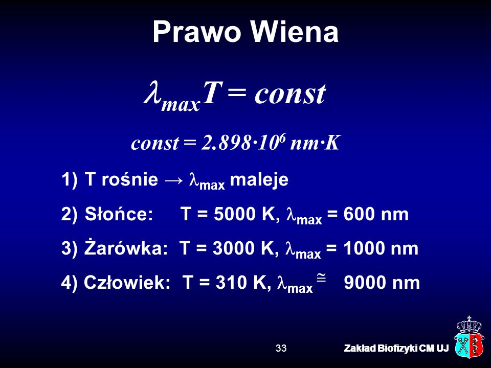 lmaxT = const Prawo Wiena const = 2.898·106 nm·K