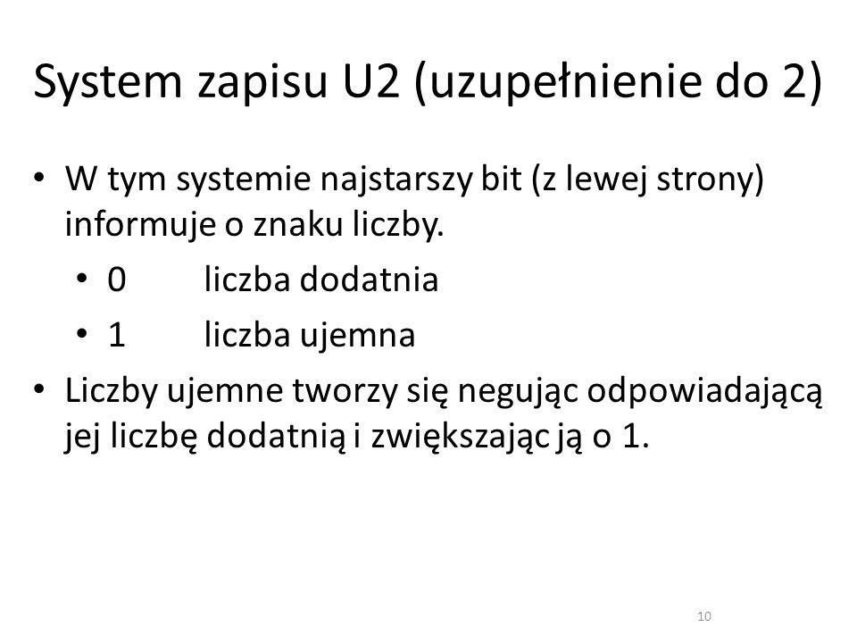 System zapisu U2 (uzupełnienie do 2)