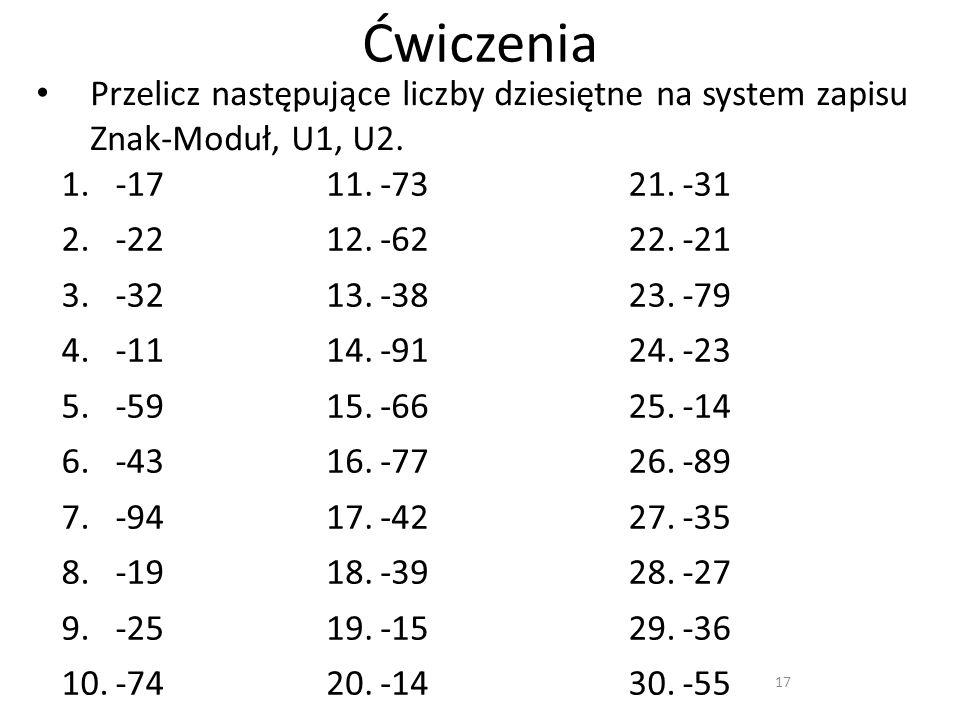 Ćwiczenia Przelicz następujące liczby dziesiętne na system zapisu Znak-Moduł, U1, U2. -17. -22. -32.