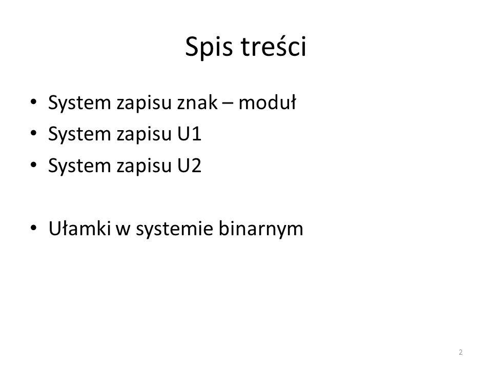 Spis treści System zapisu znak – moduł System zapisu U1
