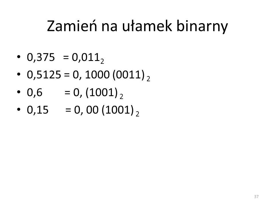 Zamień na ułamek binarny