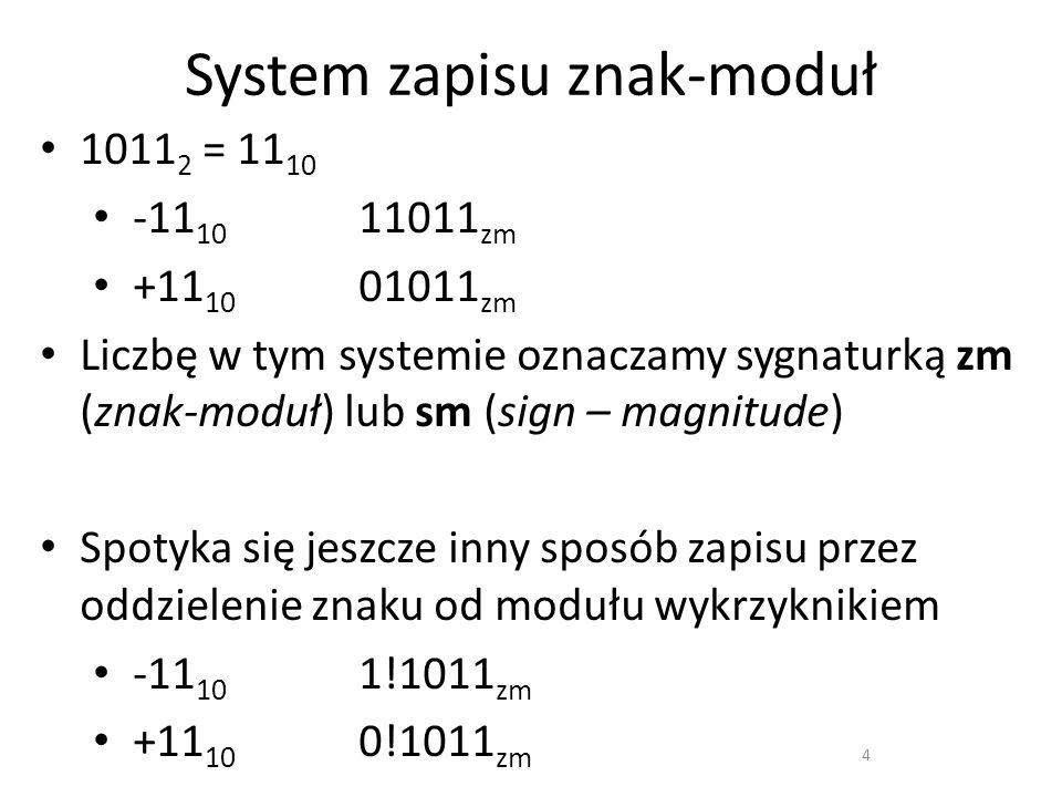 System zapisu znak-moduł