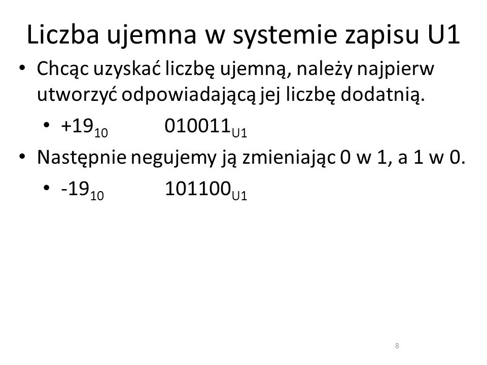 Liczba ujemna w systemie zapisu U1