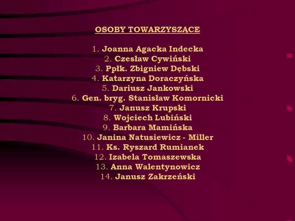 OSOBY TOWARZYSZĄCE 1. Joanna Agacka Indecka