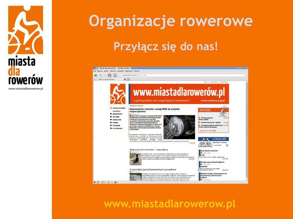 Organizacje rowerowe Przyłącz się do nas! www.miastadlarowerow.pl