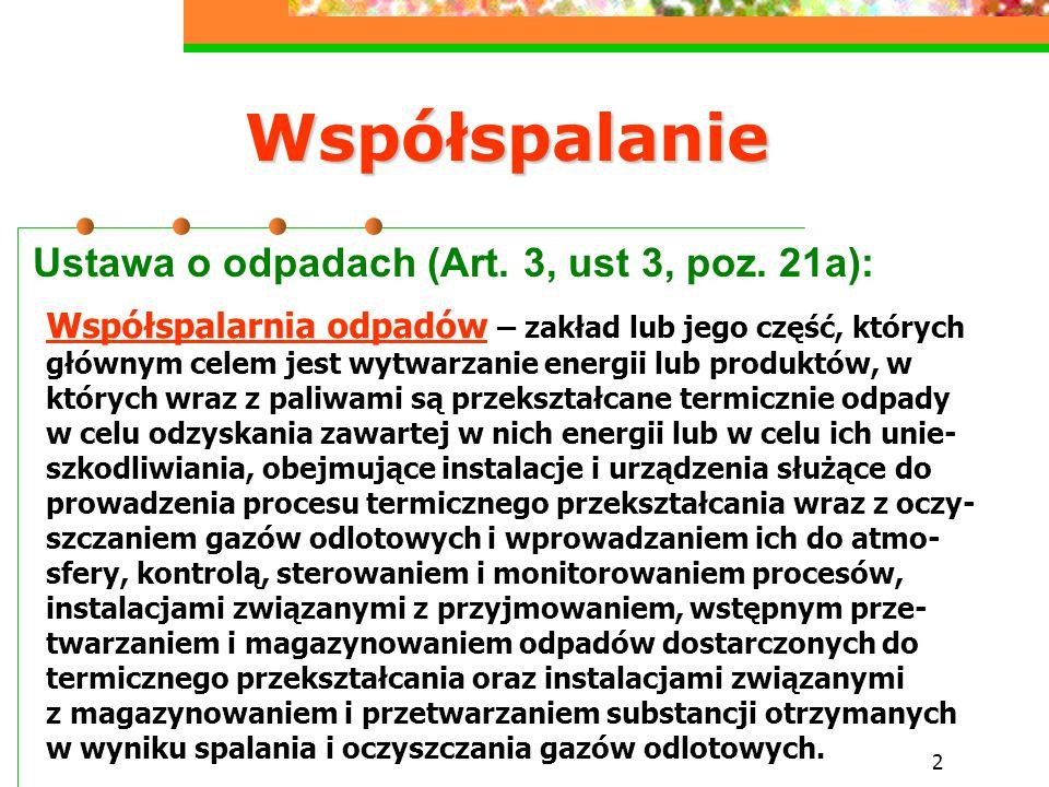 Współspalanie Ustawa o odpadach (Art. 3, ust 3, poz. 21a):