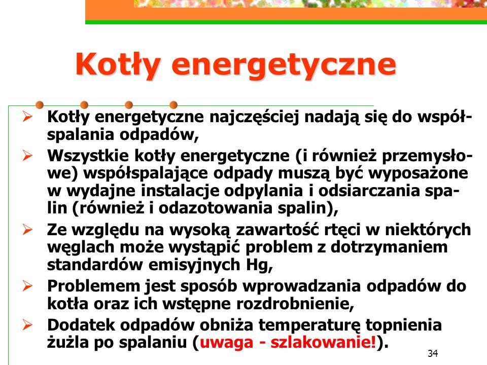 Kotły energetyczne Kotły energetyczne najczęściej nadają się do współ-spalania odpadów,