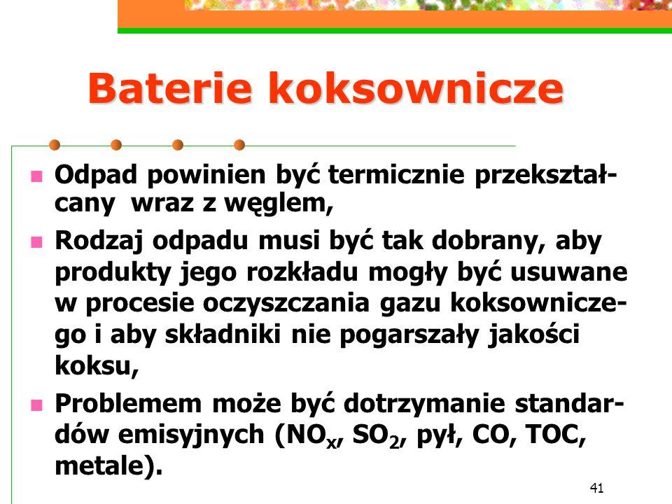 Baterie koksownicze Odpad powinien być termicznie przekształ-cany wraz z węglem,
