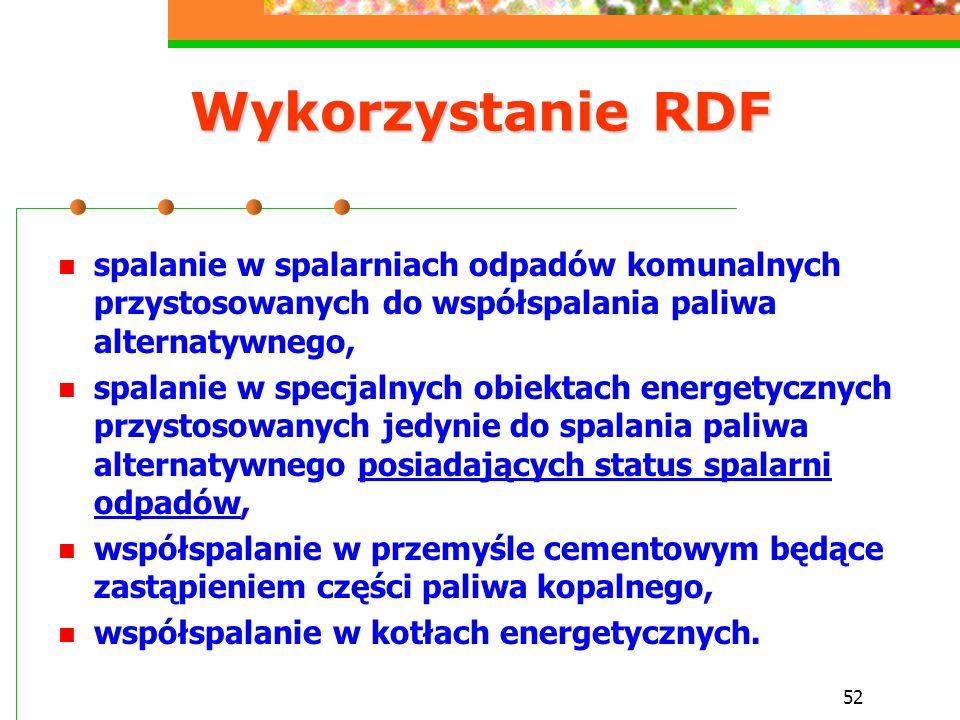 Wykorzystanie RDF spalanie w spalarniach odpadów komunalnych przystosowanych do współspalania paliwa alternatywnego,