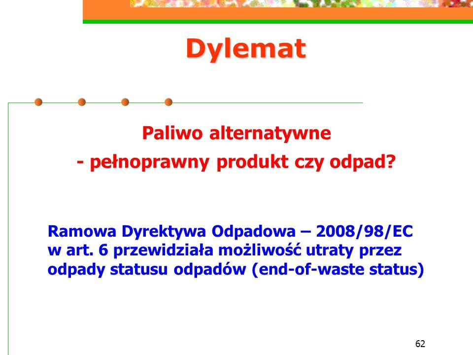 Paliwo alternatywne - pełnoprawny produkt czy odpad
