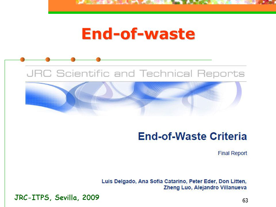 End-of-waste JRC-ITPS, Sevilla, 2009