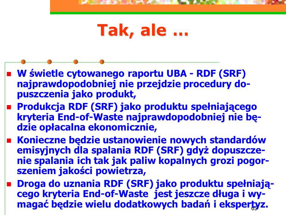 Tak, ale … W świetle cytowanego raportu UBA - RDF (SRF) najprawdopodobniej nie przejdzie procedury do-puszczenia jako produkt,