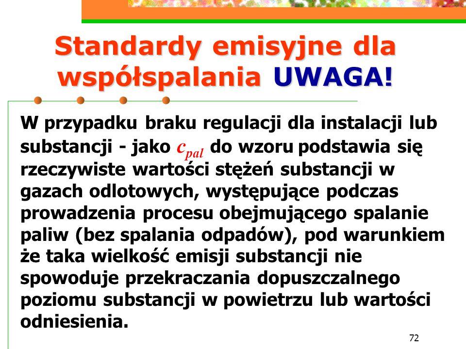 Standardy emisyjne dla współspalania UWAGA!