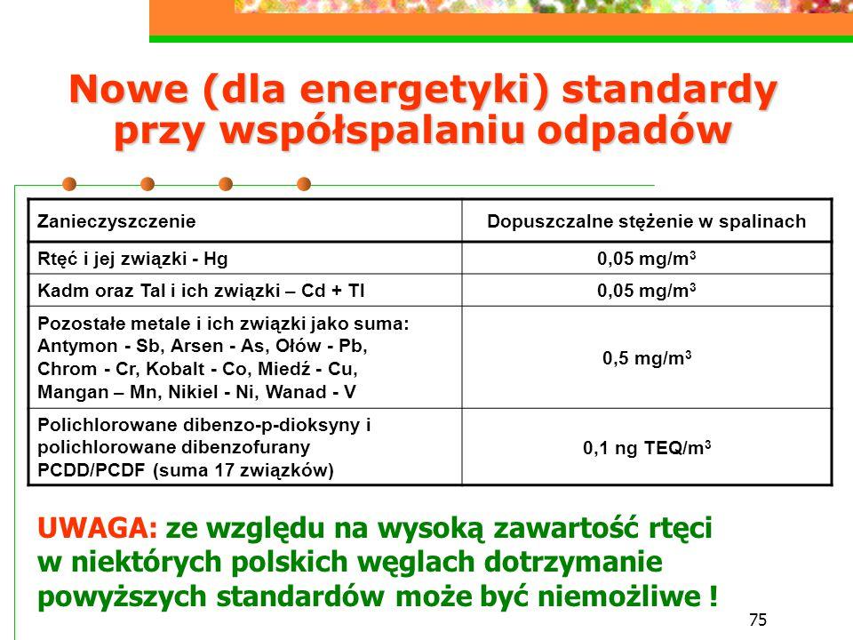 Nowe (dla energetyki) standardy przy współspalaniu odpadów