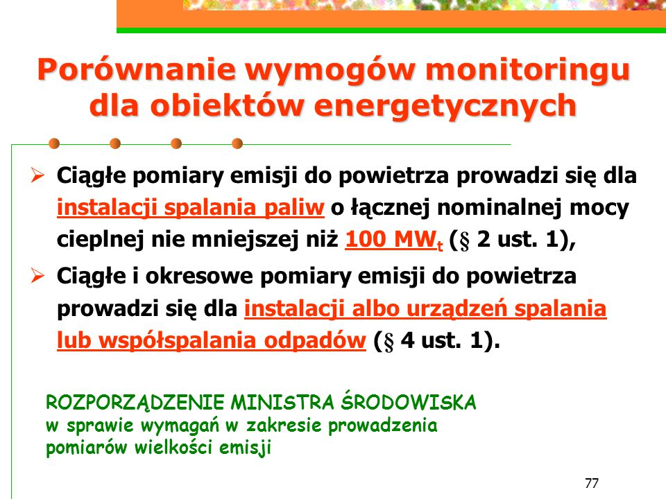 Porównanie wymogów monitoringu dla obiektów energetycznych