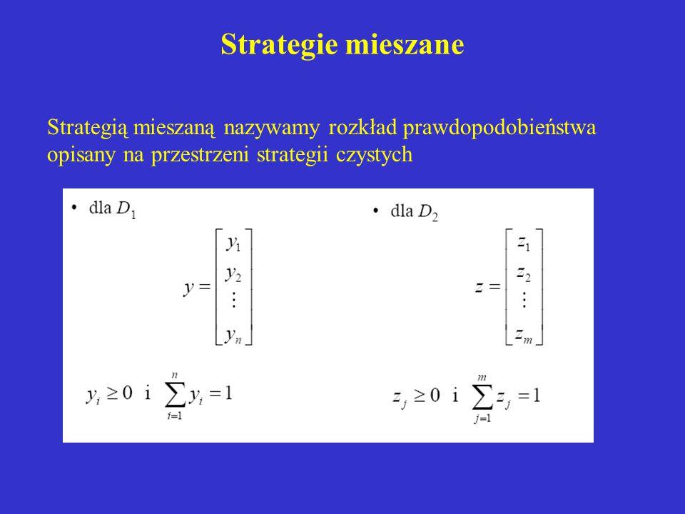 Strategie mieszane Strategią mieszaną nazywamy rozkład prawdopodobieństwa opisany na przestrzeni strategii czystych.