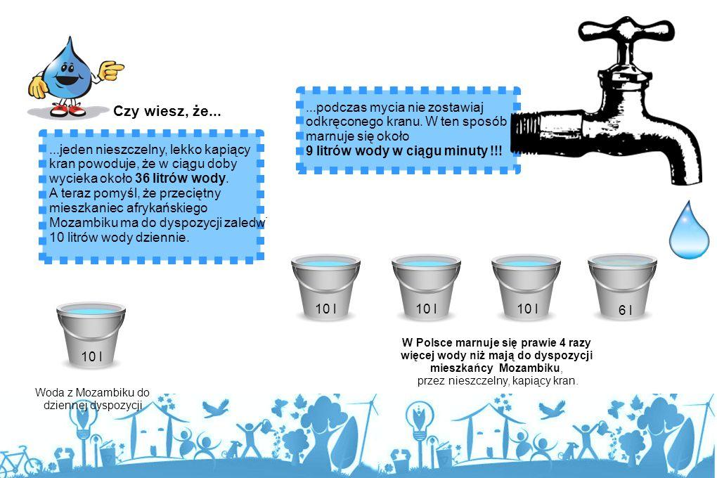 Czy wiesz, że... ...podczas mycia nie zostawiaj odkręconego kranu. W ten sposób marnuje się około. 9 litrów wody w ciągu minuty !!!