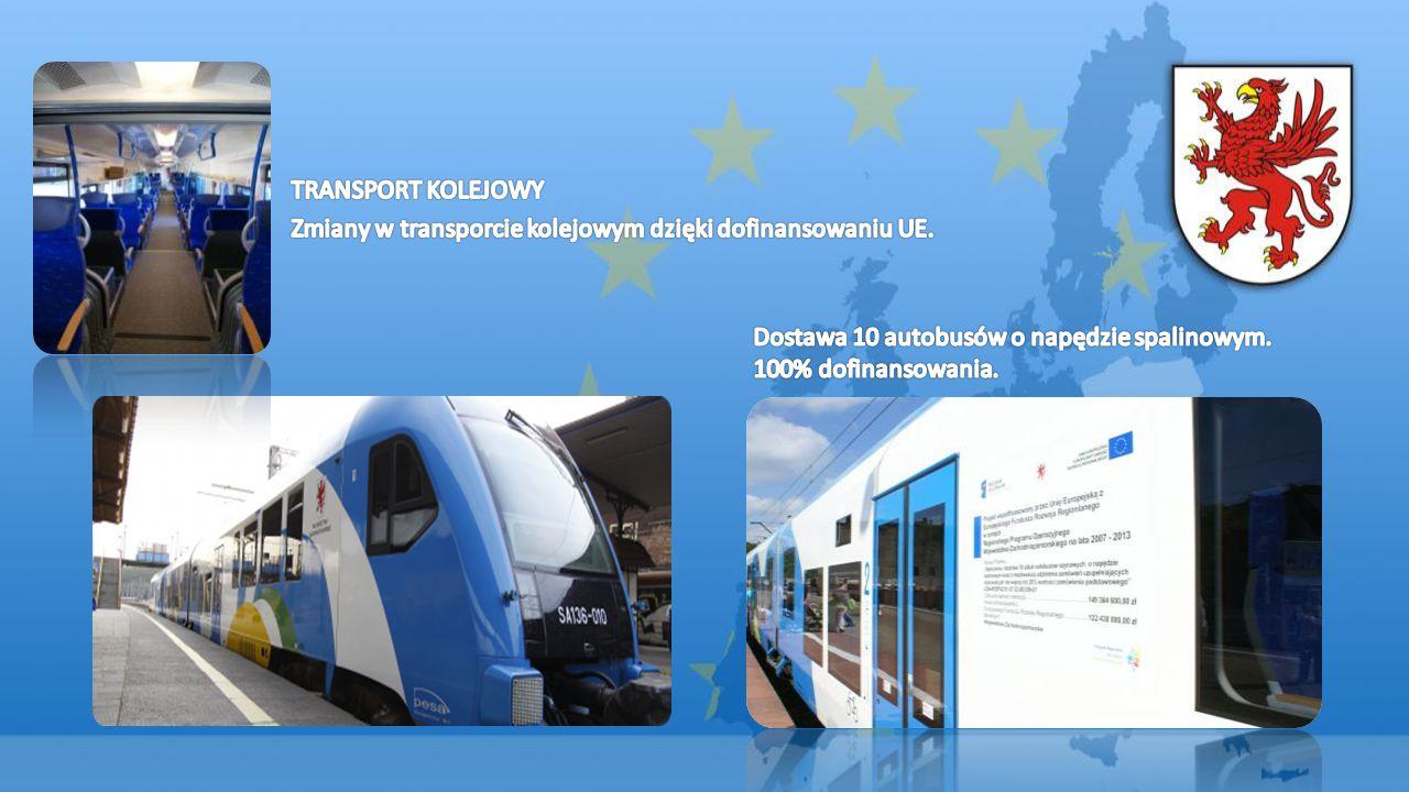TRANSPORT KOLEJOWY Zmiany w transporcie kolejowym dzięki dofinansowaniu UE. Dostawa 10 autobusów o napędzie spalinowym.